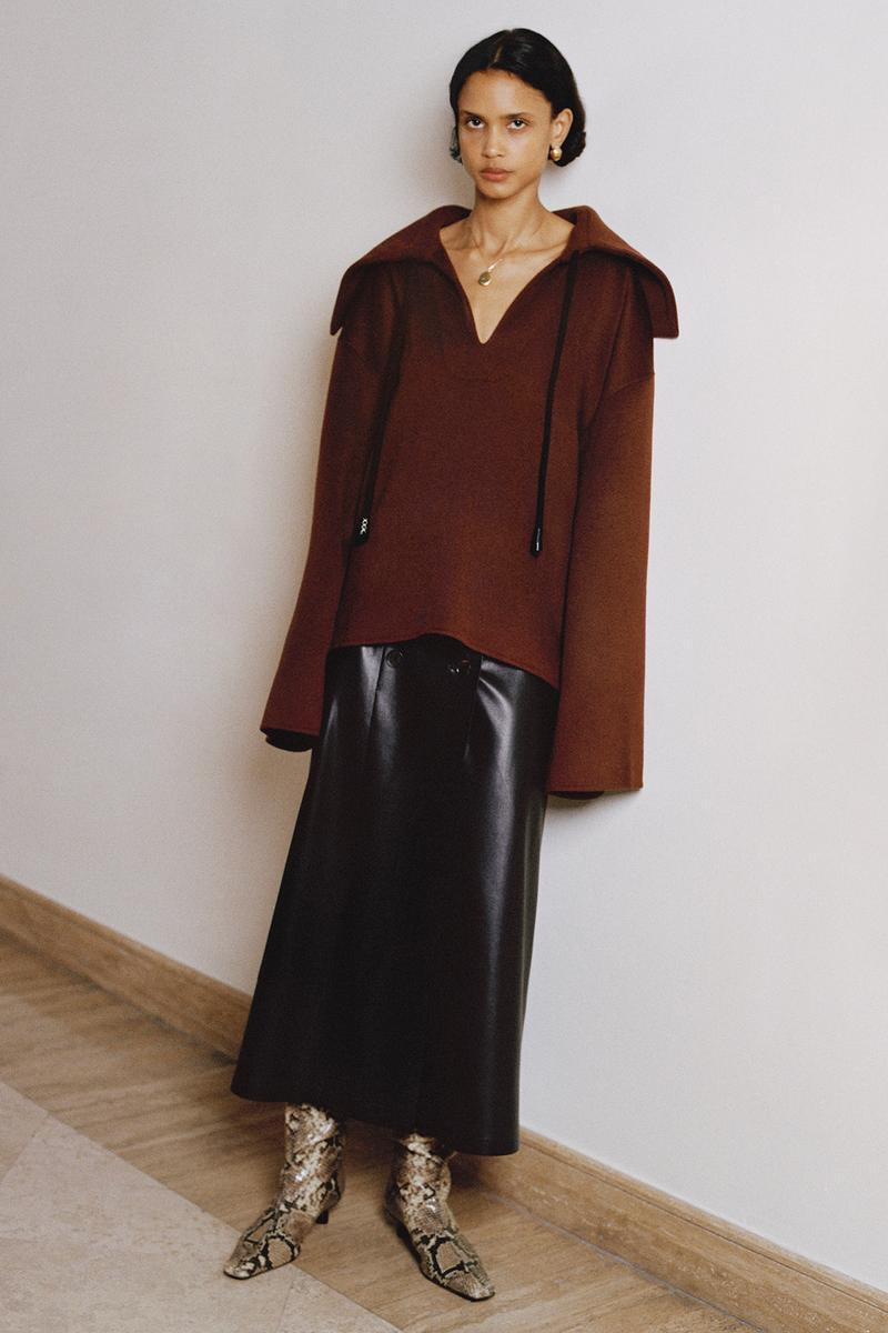 Nanushka Fall/Winter Collection Lookbook Knit Pullover Leather SKirt
