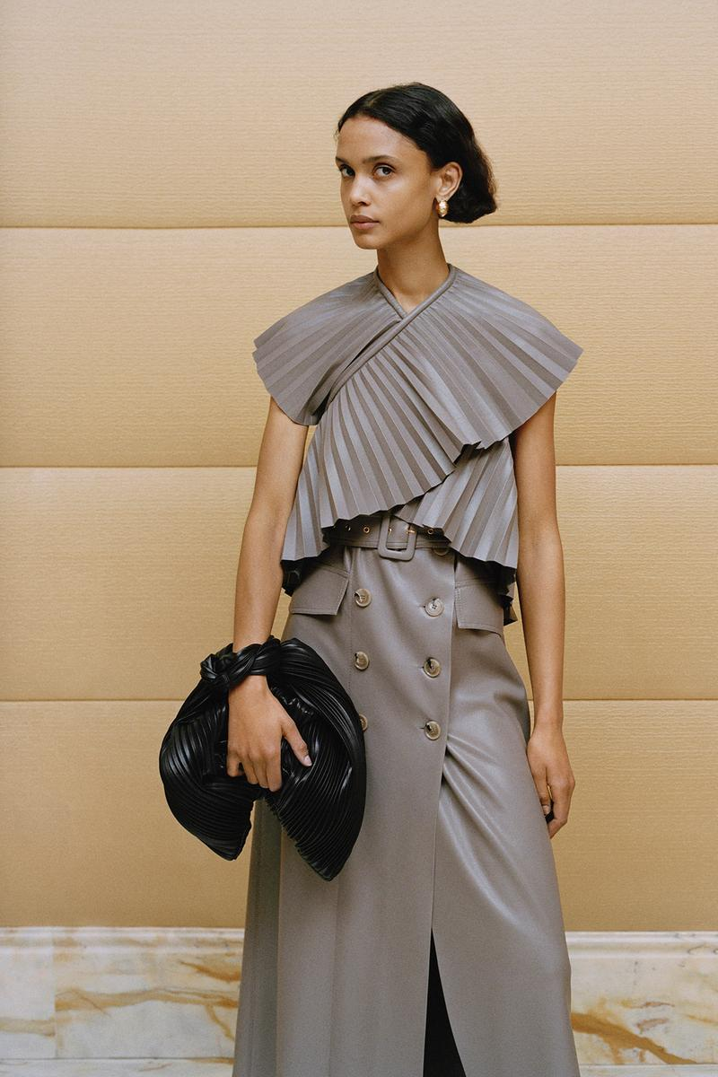 Nanushka Fall/Winter Collection Lookbook Pleated Top Leather Skirt Grey