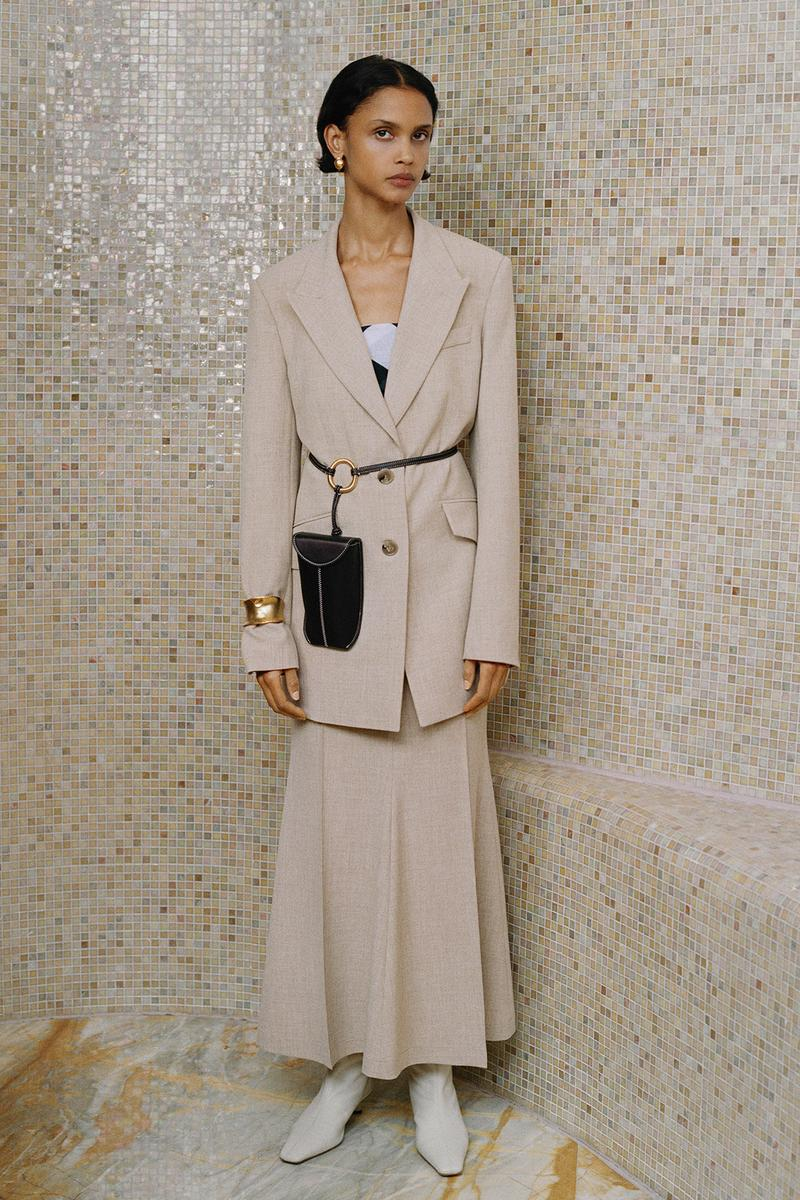 Nanushka Fall/Winter Collection Lookbook Blazer Skirt Cream