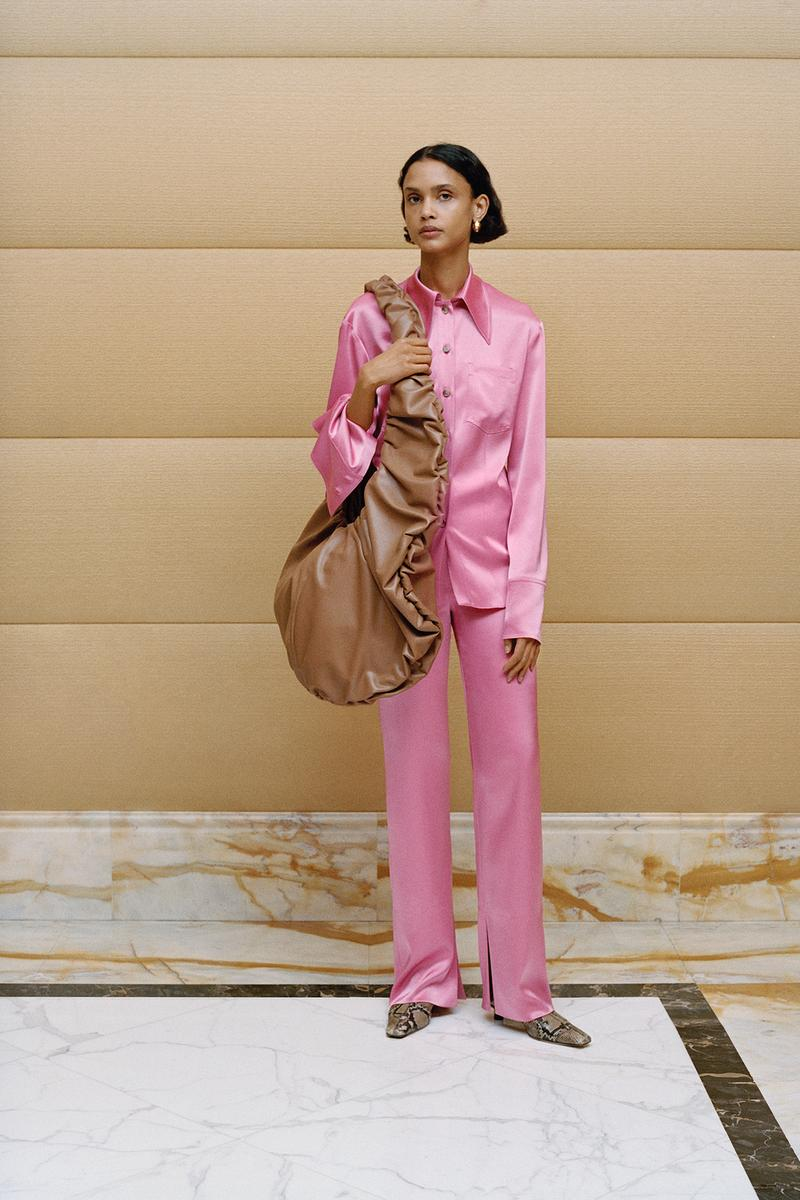 Nanushka Fall/Winter Collection Lookbook Shirt Pants Silk Pink