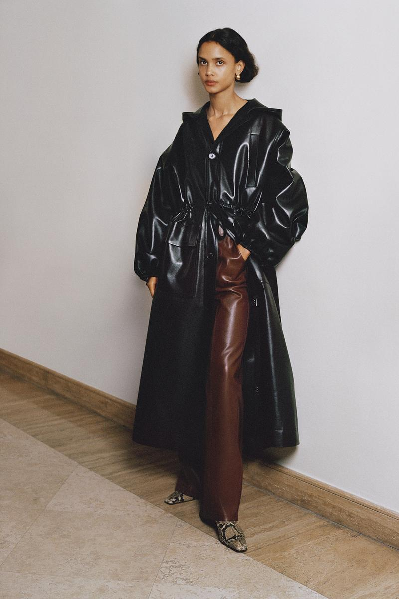 Nanushka Fall/Winter Collection Lookbook Leather Trench Coat Black