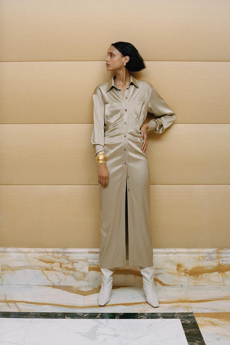 Nanushka Fall/Winter Collection Lookbook Silk Shirt Dress Maxi Beige