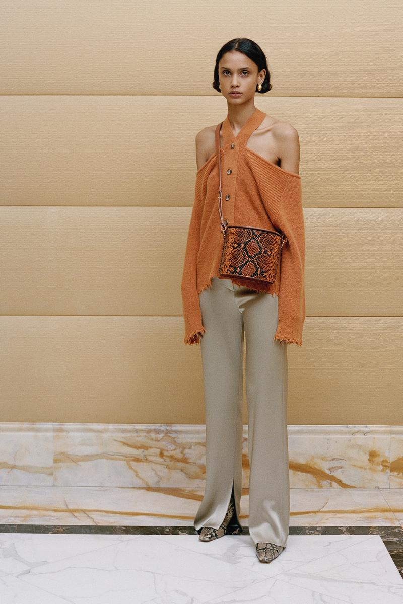 Nanushka Fall/Winter Collection Lookbook Cardigan Halter Open Shoulder Orange