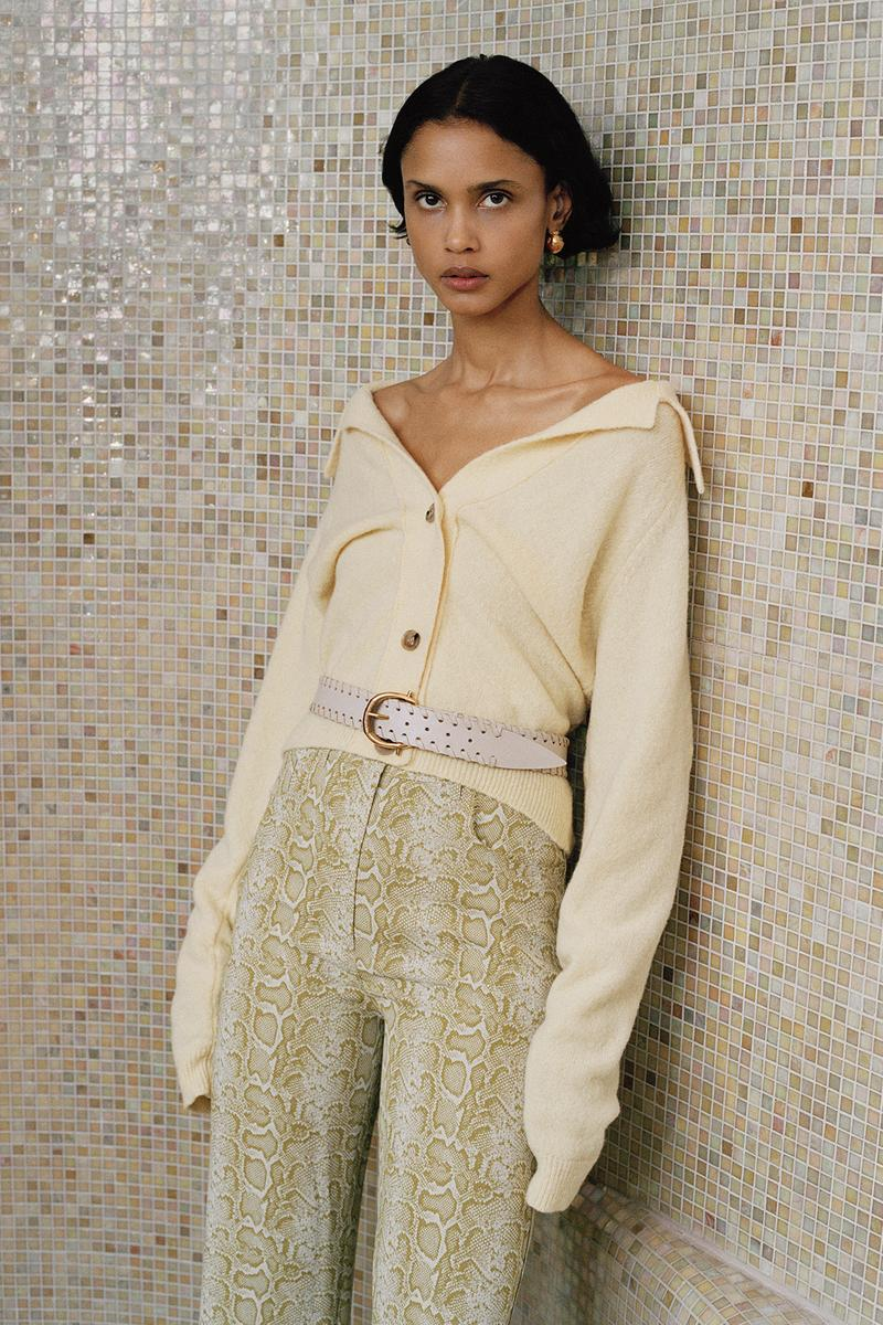 Nanushka Fall/Winter Collection Lookbook Cardigan Cream Snakeskin Pants