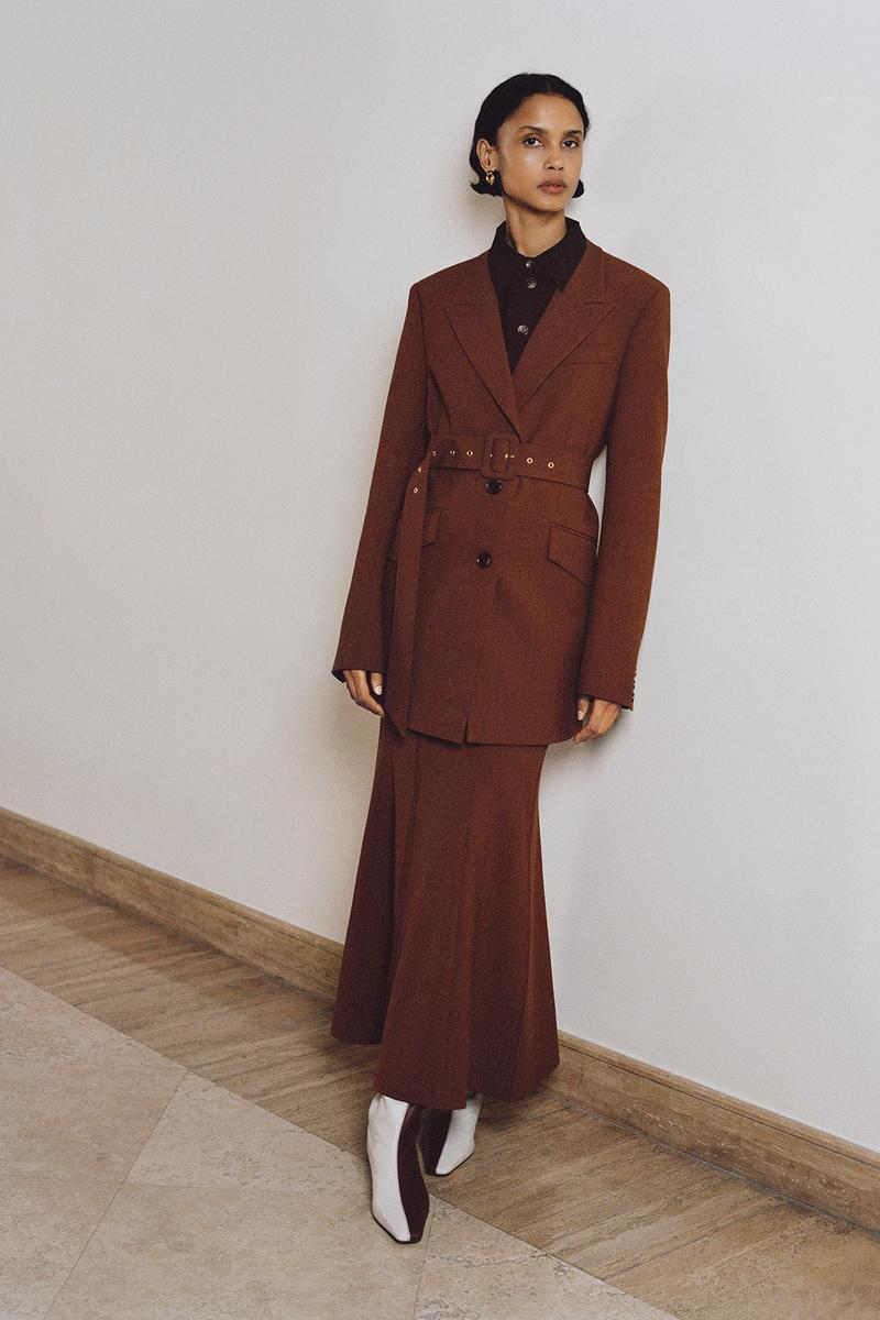 Nanushka Fall/Winter Collection Lookbook Blazer Skirt Brown