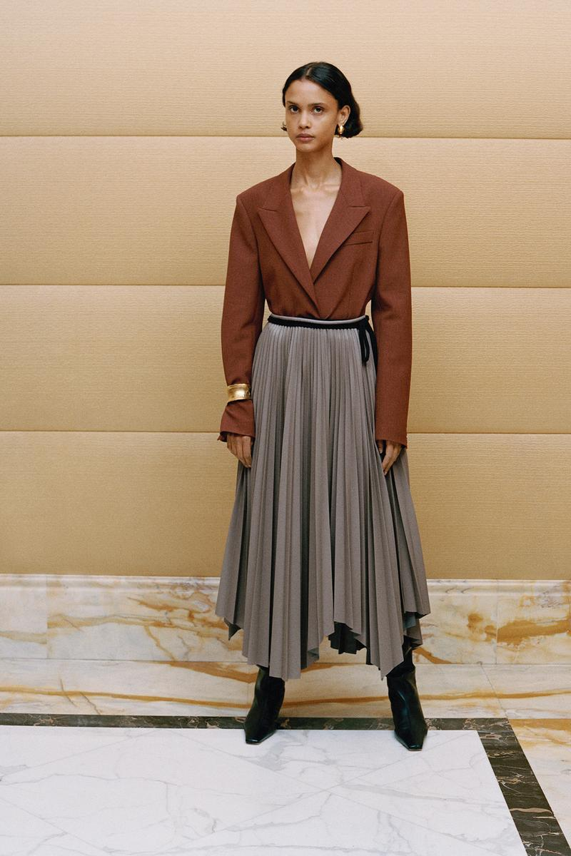Nanushka Fall/Winter Collection Lookbook Blazer Brown Skirt Grey