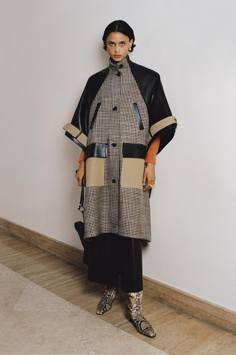Nanushka Fall/Winter Collection Lookbook Houndstooth Coat Black Beige
