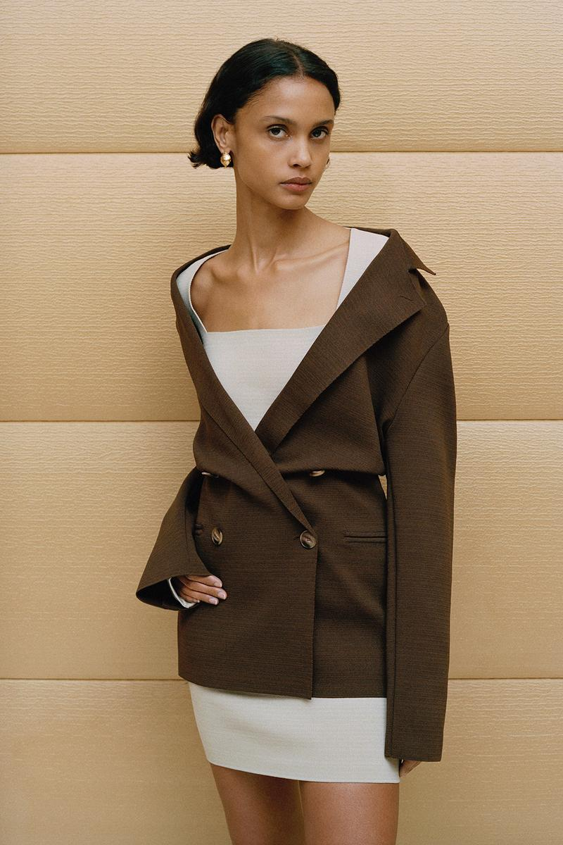 Nanushka Fall/Winter Collection Lookbook Blazer Brown Mini Dress Cream