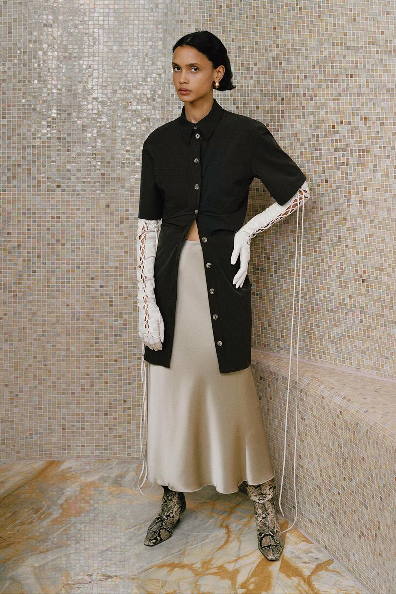 Nanushka Fall/Winter Collection Lookbook Long Cardigan Black Silk Skirt Cream