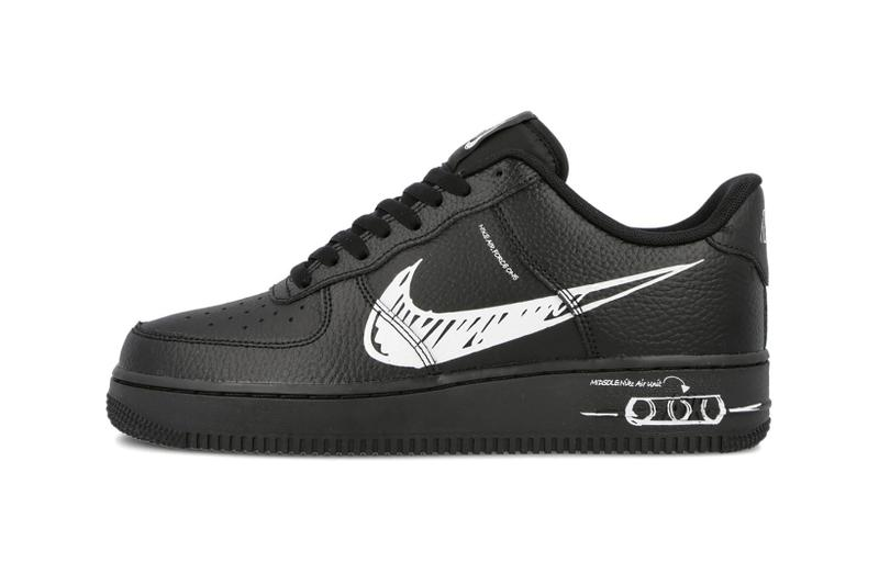 nike air force 1 sketch sneakers black white shoes sneakerhead footwear