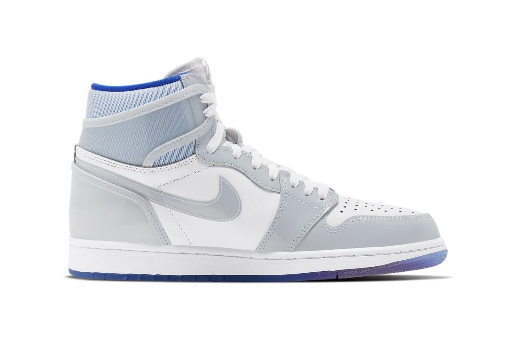 white and blue jordans 1