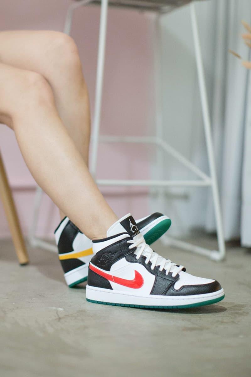 """Nike Air Jordan 1 Mid """"Black/University Red/White/Lucid Green"""""""
