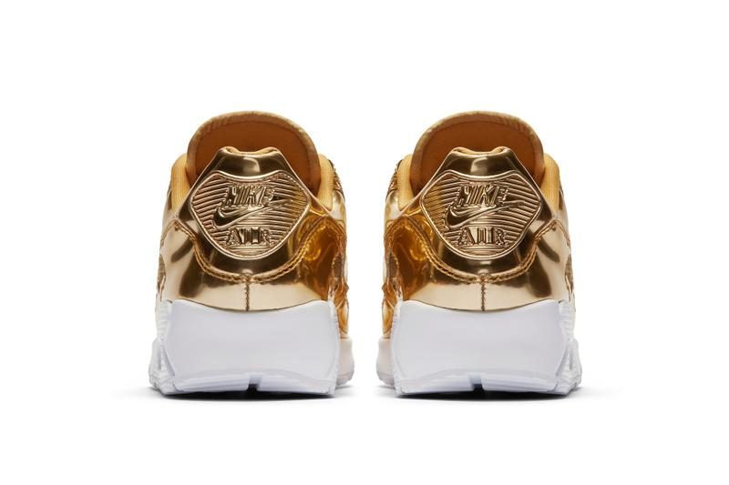 """Nike Air Max 90 """"Metallic Pack"""" Silver & Gold Sneaker Release Shiny"""