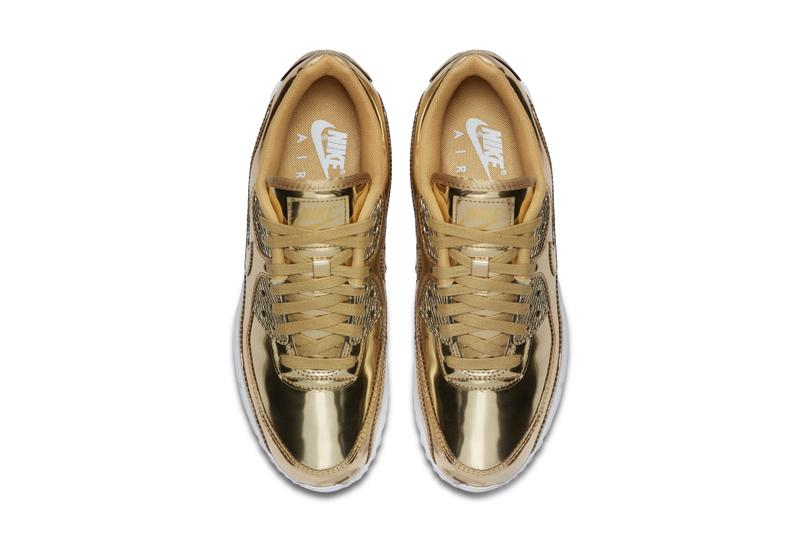 "Nike Air Max 90 ""Metallic Pack"" Silver & Gold Sneaker Release Shiny"