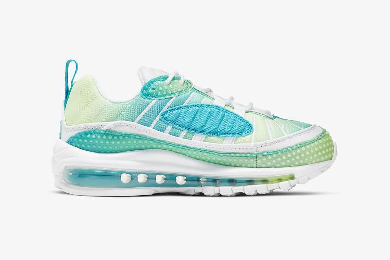 nike air max 98 se womens sneakers oracle aqua blue barely volt green white shoes sneakerhead footwear