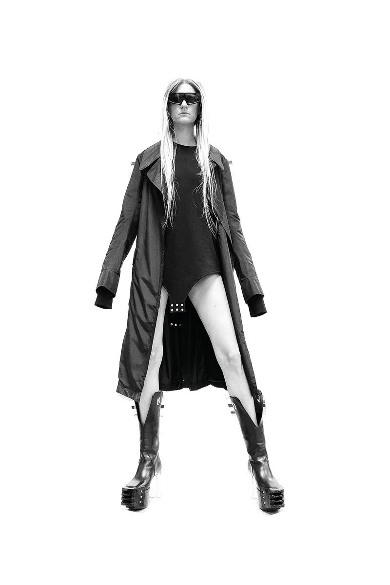 Rick Owens x Champion Collaboration Collection Campaign Coat Black