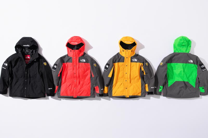 supreme the north face collaboration spring gore tex outerwear rtg jackets bags beanies black red neon green