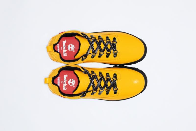 supreme timberland spring collaboration euro hiker low red yellow black shoes footwear