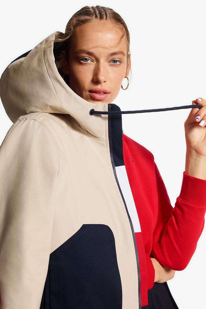 tommy hilfiger icons spring womens collection winnie harlow candice swanepoel campaign red white blue outerwear jackets