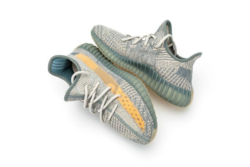 adidas kanye west yeezy boost 350 v2 israfil sneakers blue green gray orange colorway shoes sneakerhead footwear