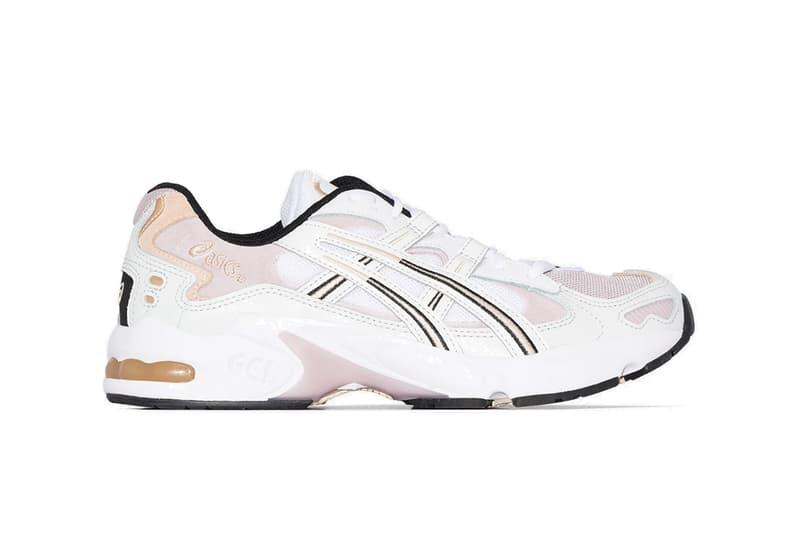 ASICS Gel-Kayano Sneaker Blush Pink White Retro Dad Shoe Black Sole Laces