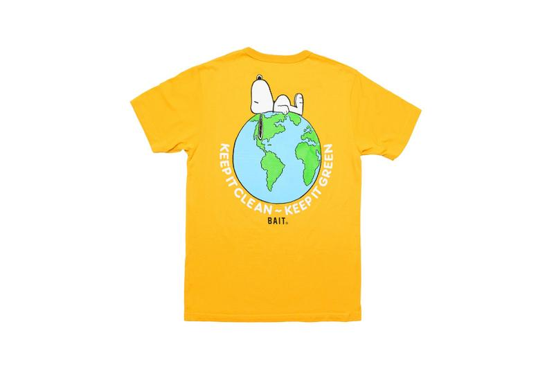 bait peanuts collaboration earth day sustainability upcycled black sweaters yellow t shirts fashion
