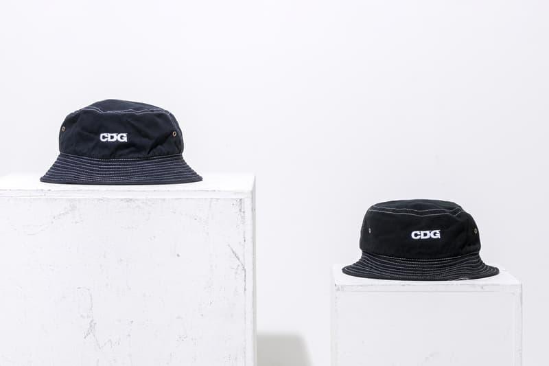 COMME des GARCONS Bucket Hat Logo Black Navy