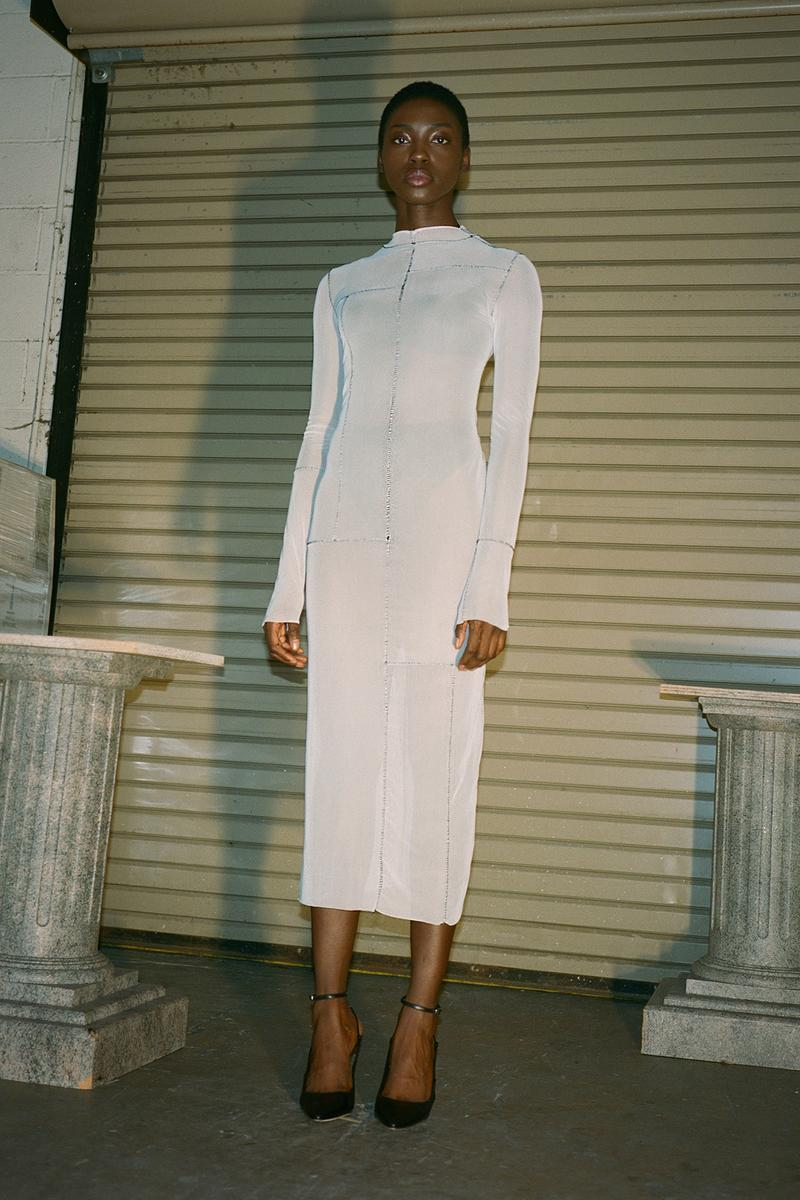 Danielle Guizio Spring/Summer 2020 Collection Lookbook Mesh Maxi Dress White