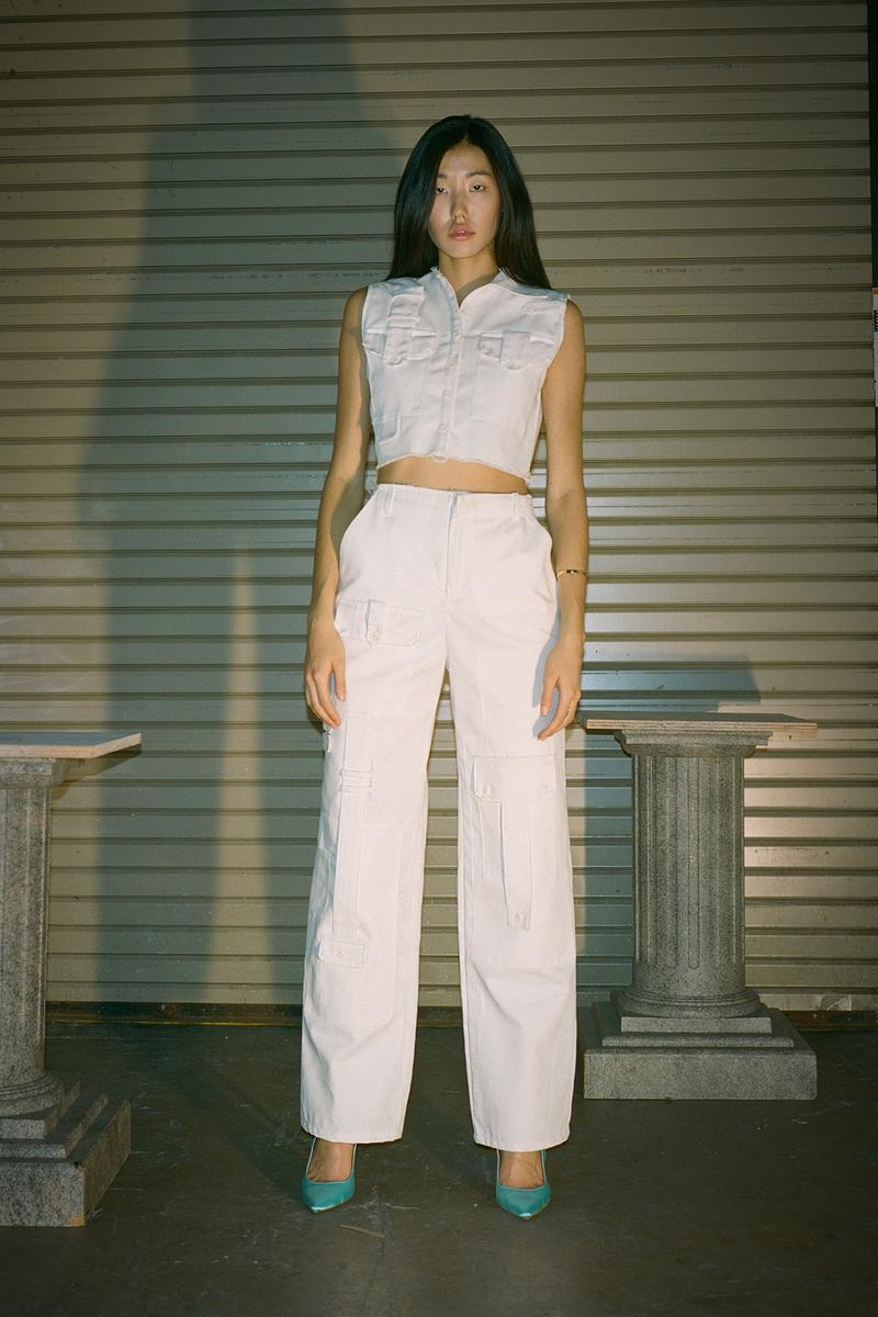 Danielle Guizio Spring/Summer 2020 Collection Lookbook Denim Top Pants White