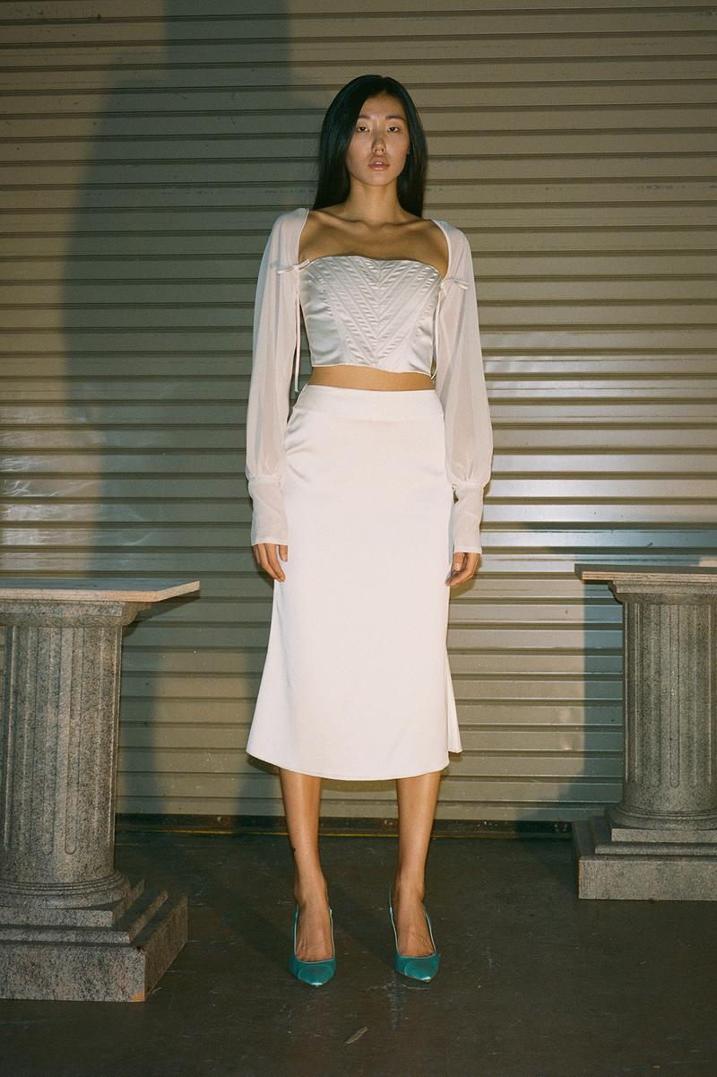 Danielle Guizio Spring/Summer 2020 Collection Lookbook Corset Top Skirt White