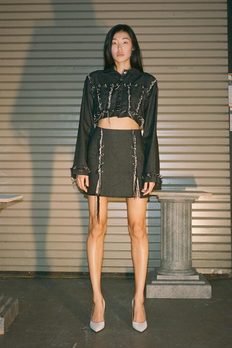 Danielle Guizio Spring/Summer 2020 Collection Lookbook Denim Jacket Skirt Black