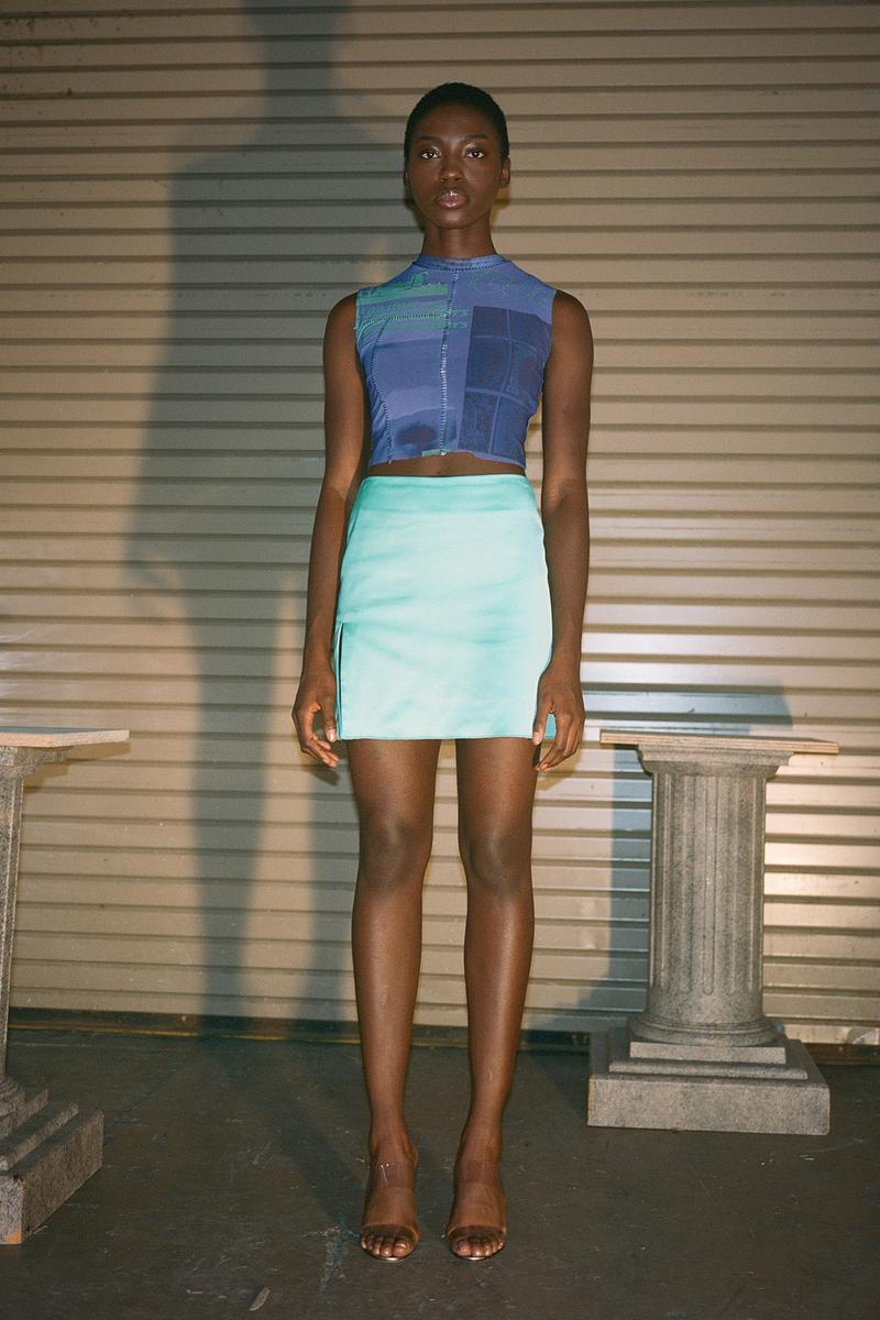 Danielle Guizio Spring/Summer 2020 Collection Lookbook Mesh Top Mini Skirt Blue