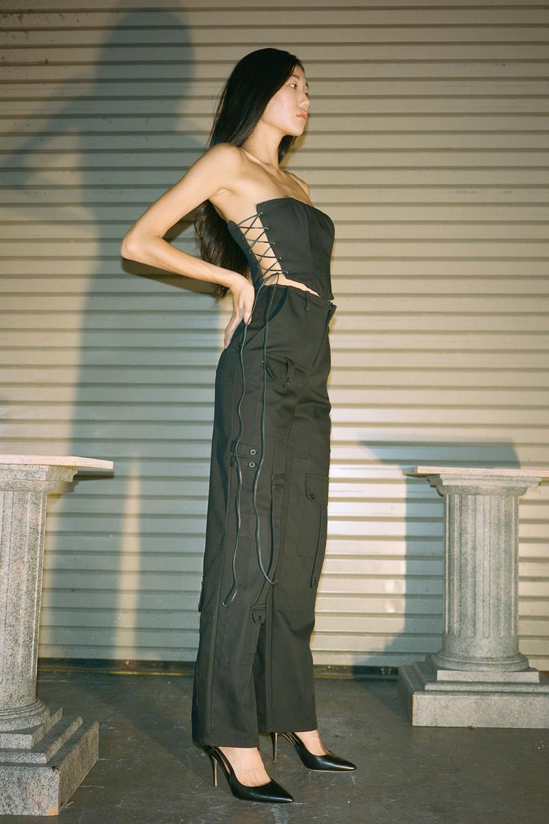 Danielle Guizio Spring/Summer 2020 Collection Lookbook Corset Pants Black