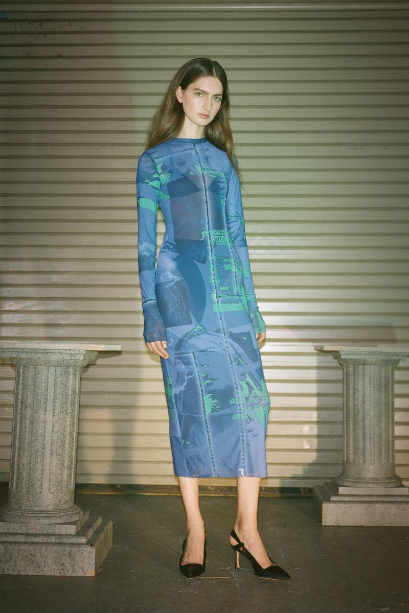 Danielle Guizio Spring/Summer 2020 Collection Lookbook Mesh Maxi Dress Blue
