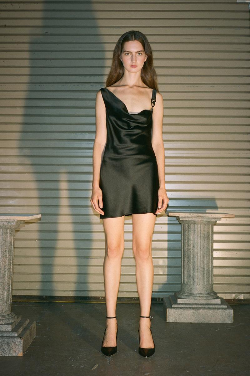Danielle Guizio Spring/Summer 2020 Collection Lookbook Satin Mini Dress Black