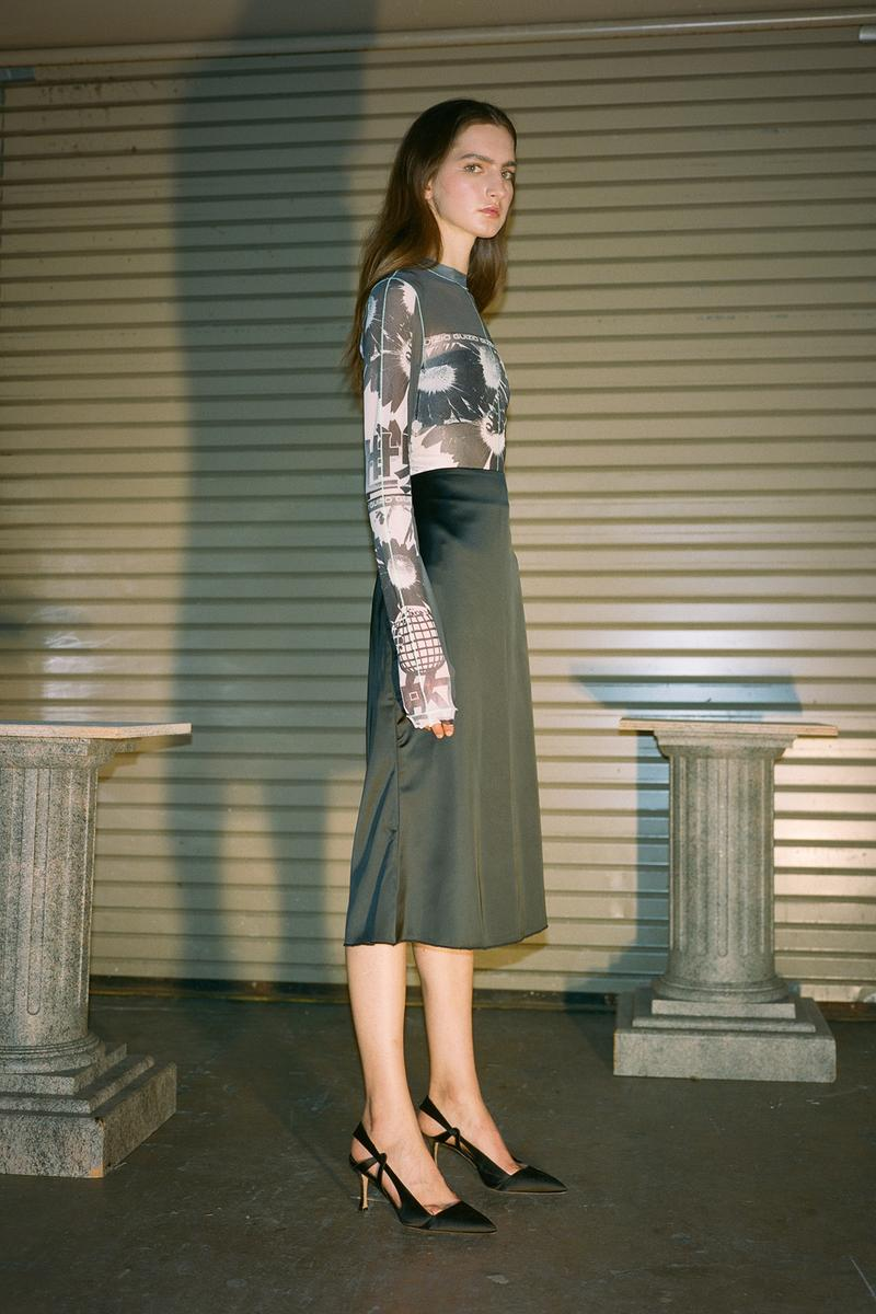 Danielle Guizio Spring/Summer 2020 Collection Lookbook Mesh Long Sleeve Satin Skirt