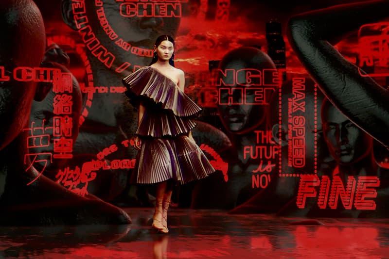Angel Chen Dress Digital Runway Show Virtual Reality Catwalk Shanghai Fashion Week Chinese Designer Red Neon Lights Akira