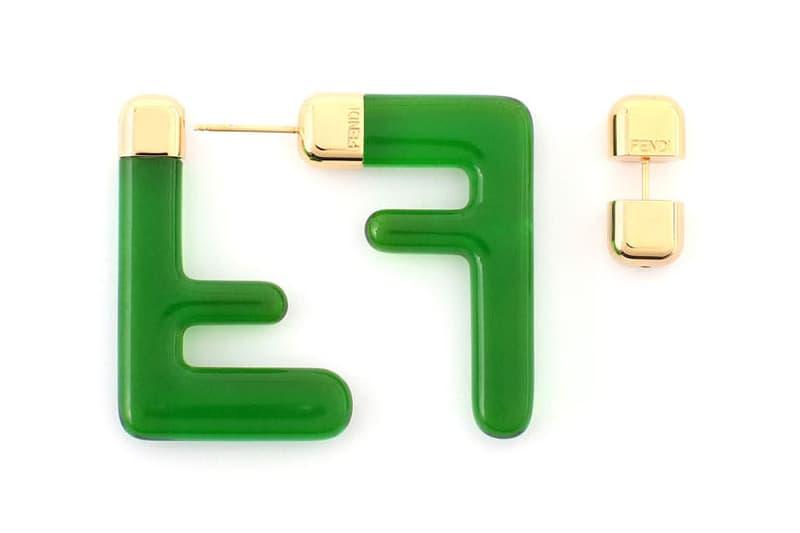 Fendi FF Earrings Logo Zucca Print Spring/Summer 2020 Green
