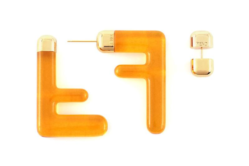 Fendi FF Earrings Logo Zucca Print Spring/Summer 2020 Yellow Orange