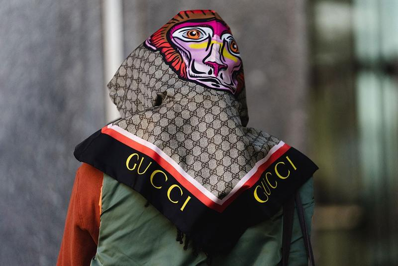 Gucci Scarf Logo Monogram Street Style