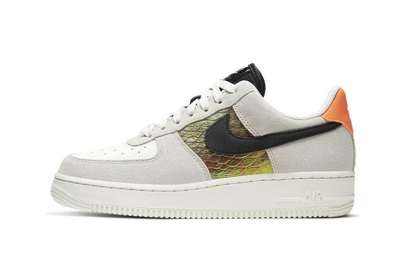 Nike Air Force 1 Light Bone/Sail/Hyper Crimson Sneaker Trainer Shoe Snake Skin Print Orange Blue