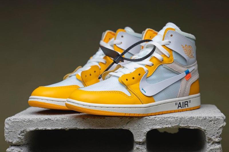 nike off white collaboration air jordan 1 sneakers yellow white shoes footwear sneakerhead