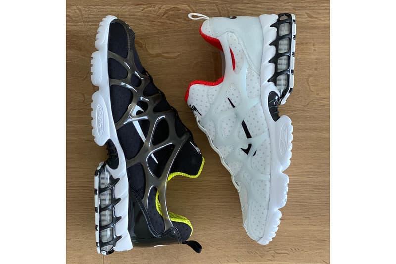 nike stussy collaboration air zoom spiridon kk sneakers white black neon green red sneakerhead footwear