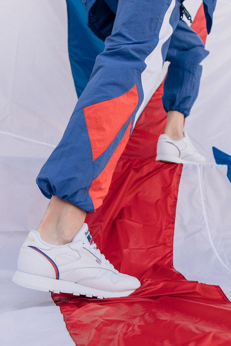 reebok international sports collection spring summer classic leather sneakers jackets shirts pants blue white red