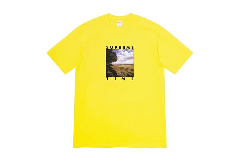 supreme spring graphic t shirts yellow white blue fashion streetwear