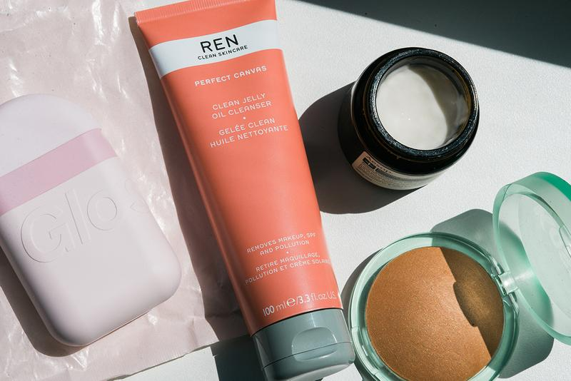 Glossier Hand Cream Pink Packaging Ren Clean Skincare Clean Jelly Oil Cleanser Aesop Sublime Replenishing Night Masque Kosas Beauty Bronzer Makeup Products Cosmetics