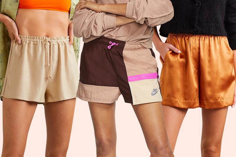 Shorts Summer Reformation Silk Satin Orange Nike Pink Brown Logo Cult Gaia Beige Drawstring elasticated waistband