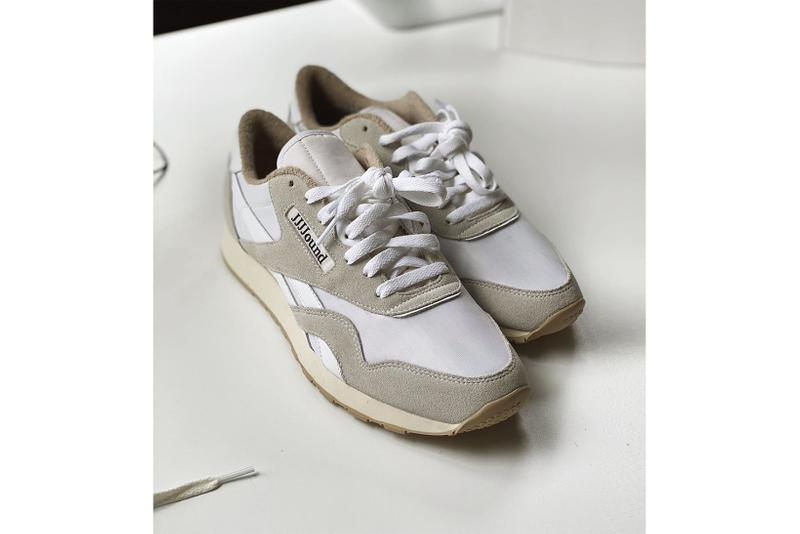 jjjjound reebok collaboration classic nylon sneakers grey white beige colorway shoes footwear sneakerhead