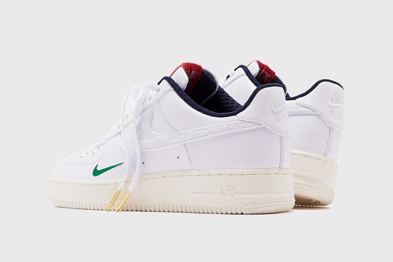 kith nike air force 1 low collaboration sneakers raffle charity ronnie fieg white green red blue sneakerhead shoes footwear