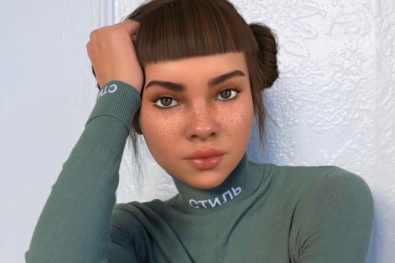 Lil Miquela CGI Influencer Virtual Portrait Brud